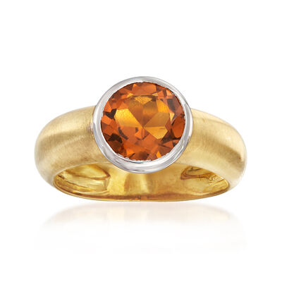 C. 1990 Vintage 1.30 Carat Citrine Ring in 18kt Yellow Gold, , default