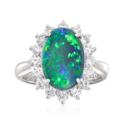 C. 1990 Vintage Black Opal and .78 ct. t.w. Diamond Halo Ring in Platinum