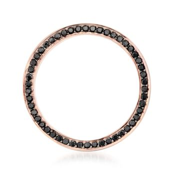 Henri Daussi Men's 5mm 14-Karat Rose Gold Band with .80 Carat Total Weight Black Diamonds. Size 10, , default