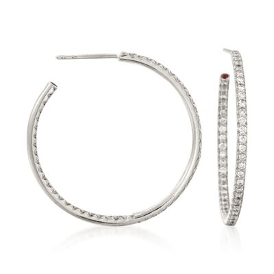 Roberto Coin .68 ct. t.w. Diamond Inside-Outside Hoop Earrings in 18kt White Gold, , default