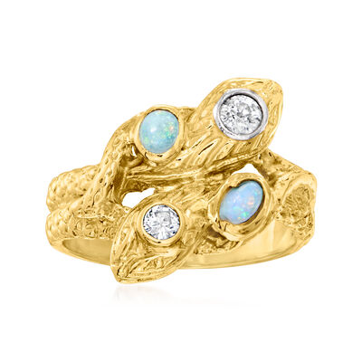 C. 1970 Vintage Opal and .25 ct. t.w. Diamond Double-Snake Ring in 14kt Yellow Gold