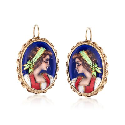 C. 1950 Vintage 21x14mm 14kt Yellow Gold and Multicolored Enamel in 14kt Yellow Gold, , default