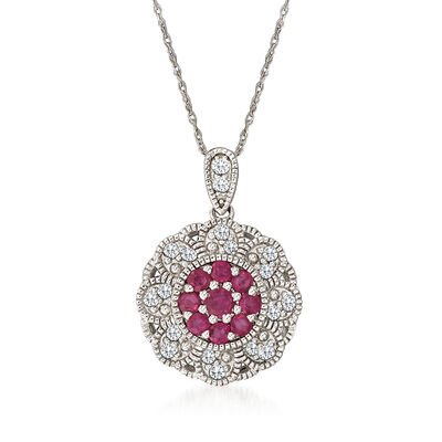 C. 1990 Vintage .45 ct. t.w. Ruby Flower Pendant Necklace with .36 ct. t.w. Diamonds in 14kt White Gold