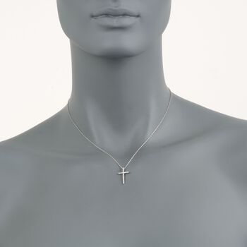 "Roberto Coin .10 Carat Total Weight Diamond Cross Necklace in 18-Karat White Gold. 16"", , default"