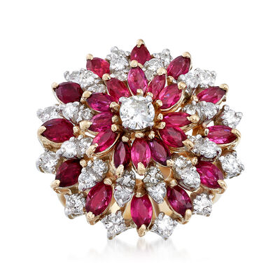 C. 1960 Vintage 2.75 ct. t.w. Ruby and 1.50 ct. t.w. Diamond Cluster Ring in 14kt Yellow Gold, , default