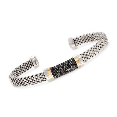 "Phillip Gavriel ""Popcorn"" .42 ct. t.w. Black Sapphire Cuff Bracelet in Sterling Silver and 18kt Gold, , default"