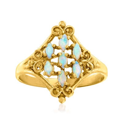 C. 1970 Vintage Opal Cluster Ring in 10kt Yellow Gold