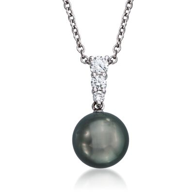 Mikimoto 10mm Black South Sea Pearl and .25 ct. t.w. Diamond Necklace in 18kt White Gold, , default