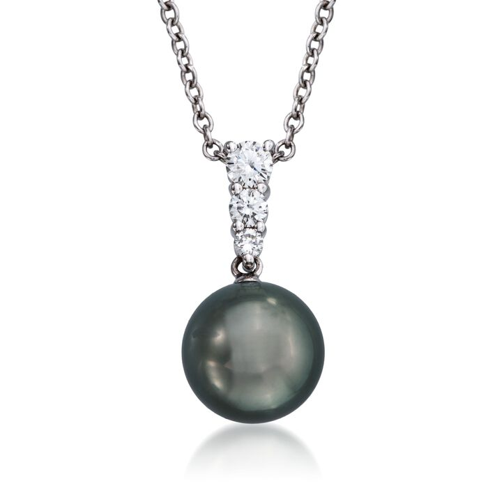 Mikimoto Black Cultured South Sea Pearl and Diamond Necklace in 18-Karat White Gold. Pendant, , default