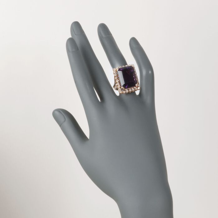 C. 1980 Vintage 20.50 Carat Amethyst and .85 ct. t.w. Diamond Ring in 14kt Yellow Gold