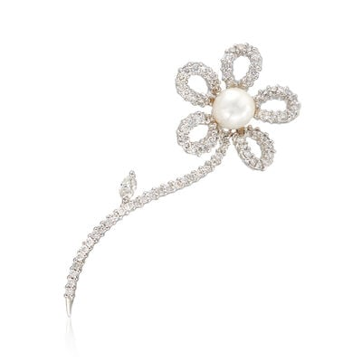 C. 1990 Vintage 7mm Cultured Pearl and 1.20 ct. t.w. Diamond Flower Pin in 14kt White Gold, , default