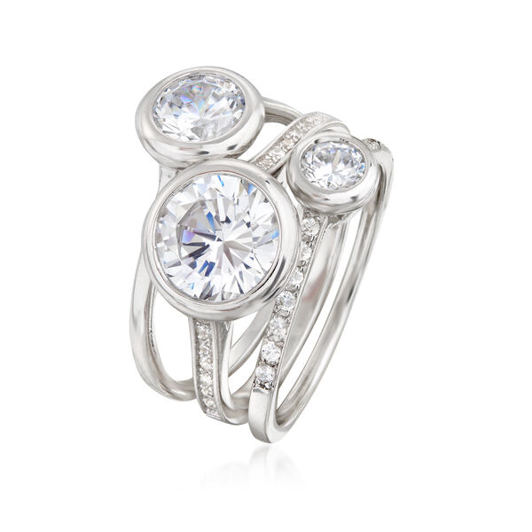 3.25 ct. t.w. CZ Jewelry Set: Three Stackable Bezel Rings in Sterling Silver. #905984