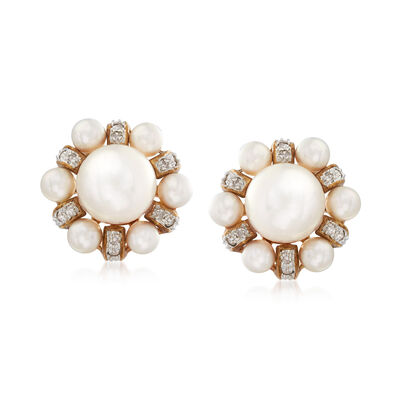 C. 1970 Vintage 3.5x8mm Cultured Pearl and .25 ct. t.w. Diamond Cluster Earrings in 14kt Yellow Gold, , default
