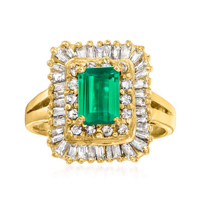 C. 1980 Vintage .75 Carat Green Tourmaline and .75 ct. t.w. Diamond Ring in 14kt Yellow Gold