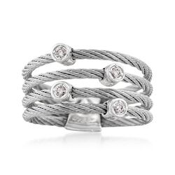 "ALOR ""Classique"" Gray Stainless Steel Cable Ring With Diamond Stations and 18kt White Gold, , default"