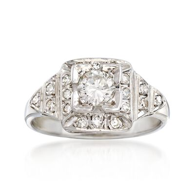 C. 1950 Vintage .70 ct. t.w. Diamond Ring in 14kt White Gold, , default