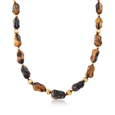 C. 1970 Vintage Free-Form Tiger's Eye Bead Necklace With 14kt Yellow Gold, , default