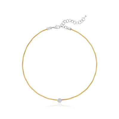 "ALOR ""Classique"" .14 ct. t.w. Diamond Circle Station Yellow Cable Choker Necklace with 18kt White Gold, , default"