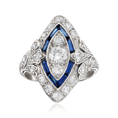 C. 1950 Vintage 1.15 ct. t.w. Diamond and .50 ct. t.w. Simulated Sapphire Ring in Platinum, , default