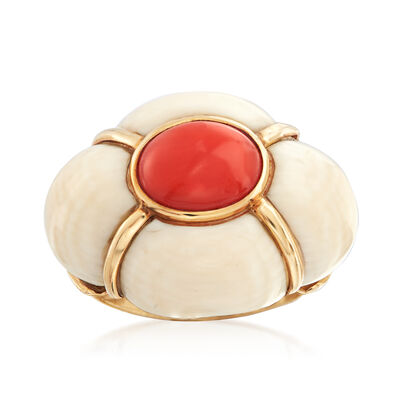 C. 1950 Vintage Pink Coral and Bone Ring in 14kt Yellow Gold, , default