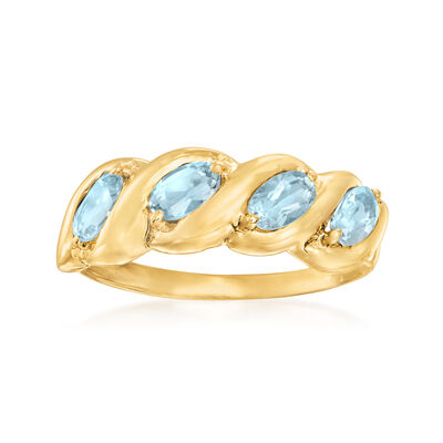 C. 1990 Vintage .75 ct. t.w. Aquamarine Ring in 10kt Yellow Gold