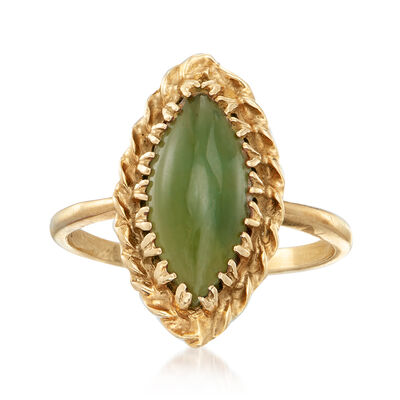 C. 1970 Vintage Jade Marquise-Shaped Ring in 10kt Yellow Gold, , default