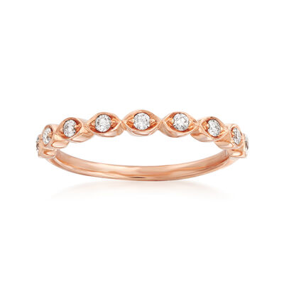 Henri Daussi .17 ct. t.w. Diamond Wedding Ring in 18kt Rose Gold, , default