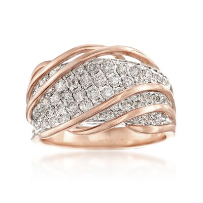 1.35 ct. t.w. Diamond Twist Ring in 18kt Rose Gold