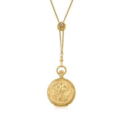 C. 1896 Vintage Waltham 14kt Yellow Gold Pocket Watch Necklace
