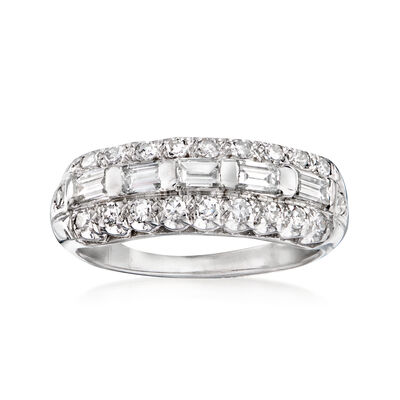 C. 1960 Vintage .80 ct. t.w. Diamond Row Ring in 14kt White Gold