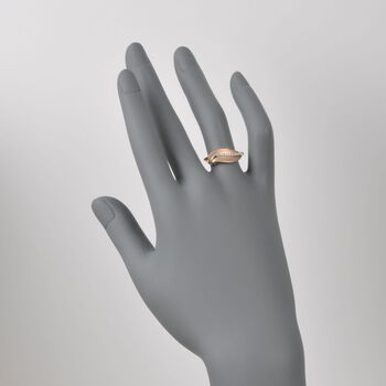 Simon G. 18kt Rose Gold Leaf Design Ring with Diamonds. Size 6.5