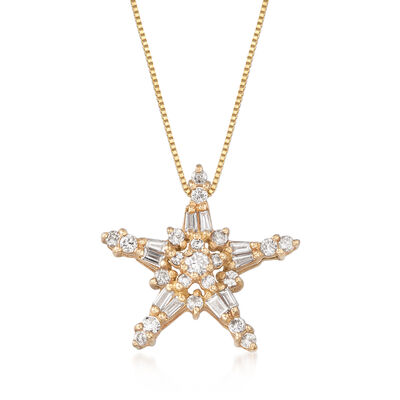 C. 1990 Vintage .85 ct. t.w. Diamond Star Pendant Necklace in 10kt Yellow Gold, , default