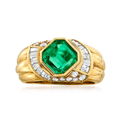 C. 1980 Vintage 1.55 Carat Emerald and .75 ct. t.w. Diamond Ring in 18kt Yellow Gold, , default