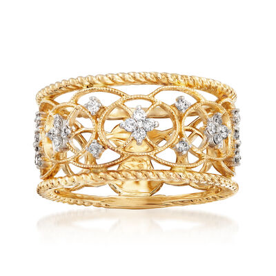 Gabriel Designs .25 ct. t.w. Diamond Openwork Filigree Ring in 14kt Yellow Gold, , default