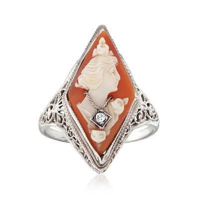 C. 1950 Vintage Diamond-Accented Cameo Ring in 14kt White Gold, , default