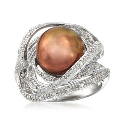 C. 1990 Vintage Brown Cultured Pearl and .25 ct. t.w. Diamond Swirl Ring in 14kt White Gold, , default