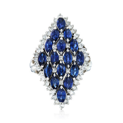 C. 1980 Vintage 3.53 ct. t.w. Sapphire and .90 ct. t.w. Diamond Cluster Ring in Platinum