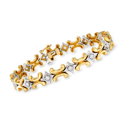 C. 1980 Vintage 1.30 ct. t.w. Diamond Bracelet in 14kt Two-Tone Gold, , default