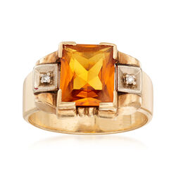 C. 1960 Vintage 3.20 Carat Synthetic Yellow Sapphire Ring With Diamond Accents in 14kt Yellow Gold, , default