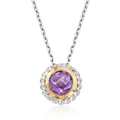 "Phillip Gavriel ""Popcorn"" .36 ct. t.w. Carat Amethyst Pendant Necklace in Sterling Silver and 18kt Gold, , default"