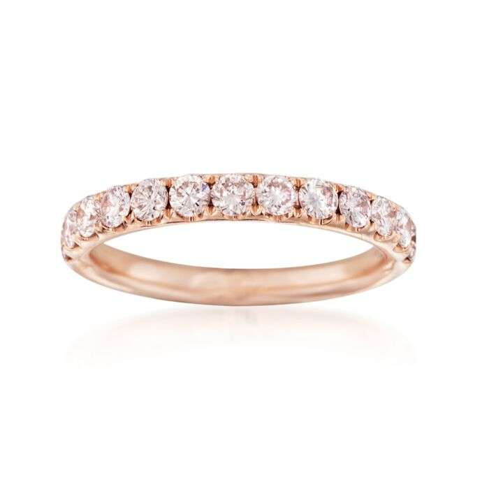 Henri Daussi .70 ct. t.w. Diamond Wedding Ring in 14kt Rose Gold, , default