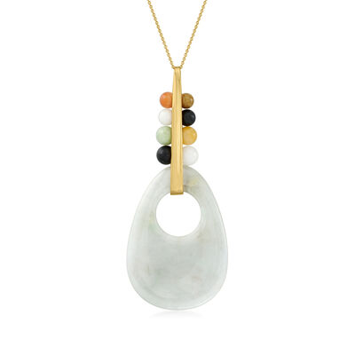 C. 1980 Vintage Green Jade Pendant Necklace with Multicolored Jade Beads in 14kt Yellow Gold