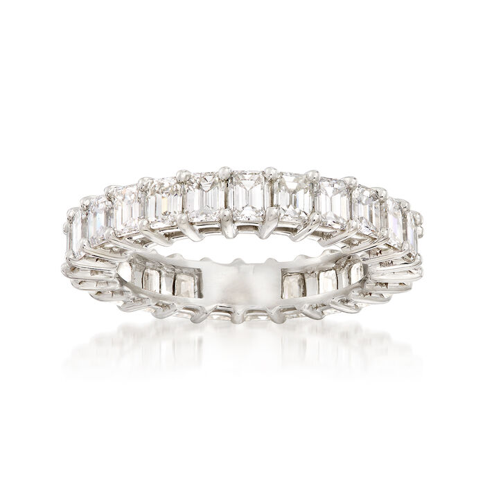 3.00 ct. t.w. Emerald-Cut Diamond Eternity Band in Platinum. Size 6