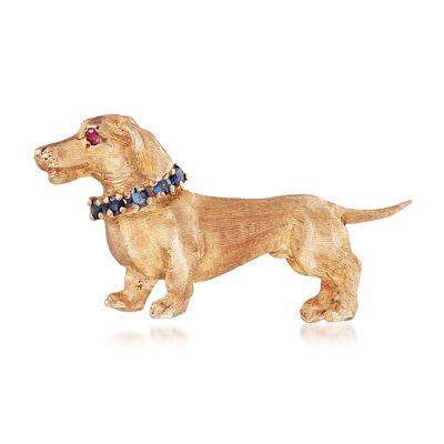 C. 1970 Vintage 14kt Yellow Gold Dachshund Pin with .40 ct. t.w. Sapphires and Ruby Accents, , default