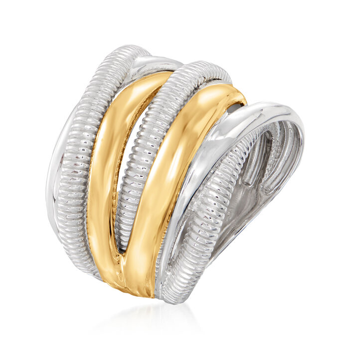 """Judith Ripka """"Eternity"""" Sterling Silver and 18kt Yellow Gold Seven-Band Highway Ring"""