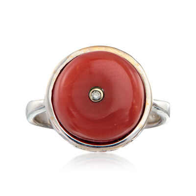 C. 1960 Vintage Carnelian and .25 ct. t.w. Diamond Ring in 18kt White Gold