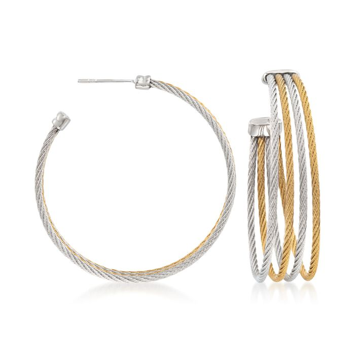 ALOR Classique Two-Tone Stainless Steel Multi-Cable Hoop Earrings with 18-Karat White Gold, , default
