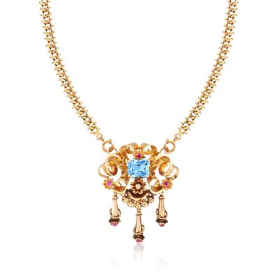 C. 1940 Vintage 6.40 Carat Blue Synthetic Spinel and .90 ct. t.w. Synthetic Ruby Necklace in 18kt Yellow Gold, , default