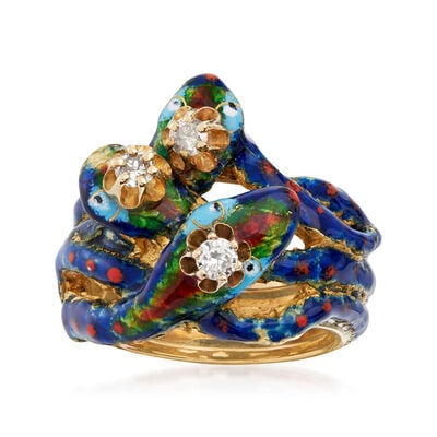 C. 1970 Vintage .25 ct. t.w. Diamond Snake Ring with Blue and Red Enamel in 14kt Yellow Gold