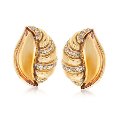 C. 1980 Vintage Citrine and .80 ct. t.w. Diamond Shell Earrings in 18kt Yellow Gold, , default